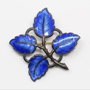 AKSEL HOLMSEN NORWAY 925 BLUE ENAMEL Leaves Brooch